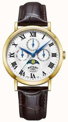 Rotary 男士windsor月相手表皮表带 GS05328/01