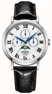 Rotary 男士windsor月相日期腕表黑色皮质表带 GS05325/01