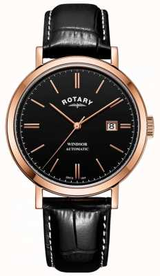 Rotary 男士windsor手表金色表壳黑色表盘真皮表带 GS05319/04