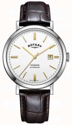 Rotary 男士windsor手表银色调表壳白色表盘真皮表带 GS05315/02