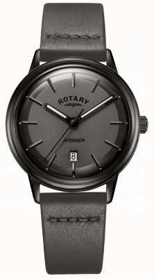 Rotary 男士复仇者看所有黑色皮革表带皮革 GS05345/20