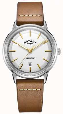 Rotary 男士复仇者手表银色调表壳棕褐色皮革表带 GS05340/02