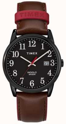 Timex 男士38毫米轻松阅读器棕色真皮表带黑色表盘 TW2R62300