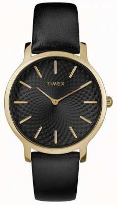 Timex 女式天际线34毫米黑色真皮表带黑色表盘 TW2R36400