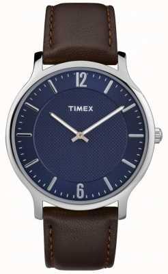 Timex 男士苗条天际线40毫米银色表壳棕色真皮蓝色表盘 TW2R49900