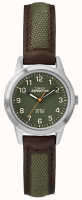 Timex 领域迷你眉头皮革绿色表盘 TW4B12000