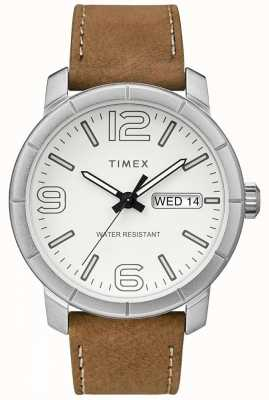 Timex 男士mod 44米色真皮表带白色表盘 TW2R64100