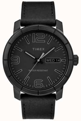 Timex 男装mod 44黑色真皮表带黑色表盘 TW2R64300