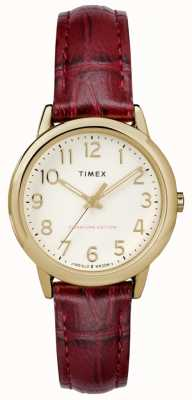 Timex 女士30mm简易阅读器勃艮第鳄鱼皮表带奶油表盘 TW2R65400