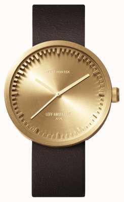 Leff Amsterdam Tube手表d42黄铜表壳棕色皮表带 LT72022