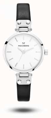 Mockberg Astrid娇小的黑色皮革表带白色表盘 MO202