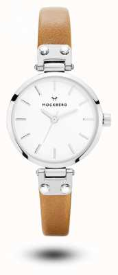 Mockberg Wera娇小的棕色真皮表带白色表盘 MO1404