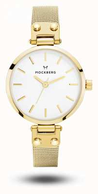 Mockberg 利维娅娇小的金色pvd镀金网状手镯白色表盘 MO401