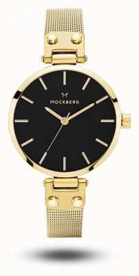 Mockberg Livia娇小的黑色镀金网眼手链黑色表盘 MO403