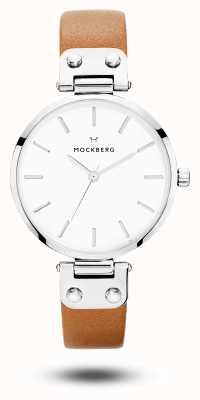 Mockberg 女士wera棕色皮革表带白色表盘 MO1006
