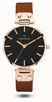 Mockberg Vilde黑色棕色皮革表带黑色表盘 MO115