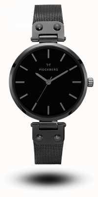 Mockberg Lio黑色镀铂金网眼手链黑色表盘 MO305