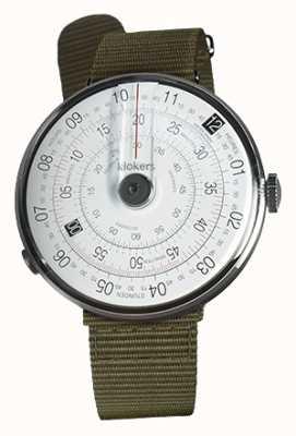 Klokers Klok 01黑色手表头地衣绿色纺织单肩带 KLOK-01-D2+KLINK-03-MC2