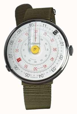 Klokers Klok 01黄色手表头地衣绿色纺织单肩带 KLOK-01-D1+KLINK-03-MC2