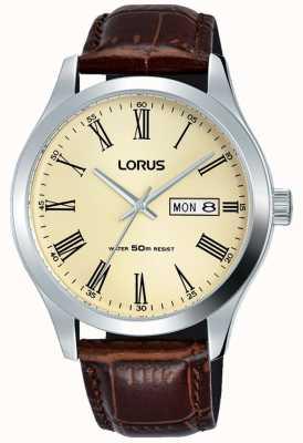 Lorus 不锈钢表壳皮革手镯罗马数字奶油 RXN53DX9