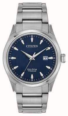 Citizen 男士蓝色表盘银色超钛手链 BM7360-82L