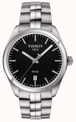Tissot 男士pr100黑色表盘精钢表链 T1014101105100