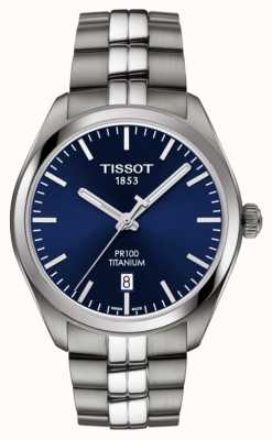 Tissot 男士PR100钛蓝色表盘石英 T1014104404100