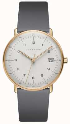 Junghans Max bill damen石英灰色皮革手表 047/7854.04