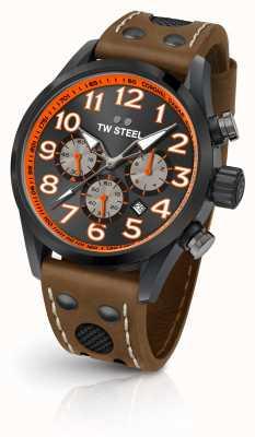 TW Steel Coronel达喀尔限量版棕色真皮表带黑色表盘 TW975