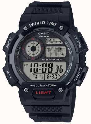 Casio 世界时间报警计时码表 AE-1400WH-1AVEF