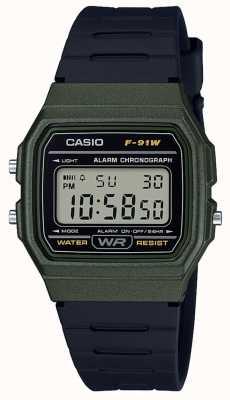 Casio 报警计时码表绿色和黑色表壳 F-91WM-3AEF