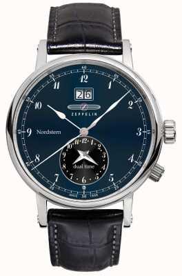 Zeppelin Nordstern双时间大日期蓝色表盘黑色皮革表带 7540-3