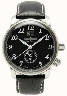 Zeppelin 计数双时间大日期显示黑色表盘黑色皮革 7644-2