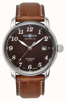 Zeppelin 格拉夫自动lz127日期显示棕色表盘棕色皮革 8656-3
