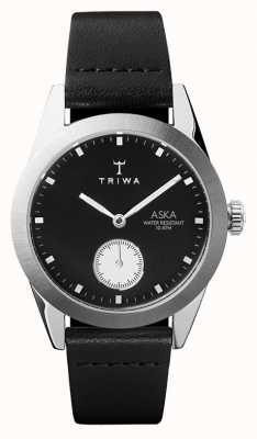 Triwa 板岩aska黑色表盘不锈钢表壳黑色皮革 AKST107-SS010212