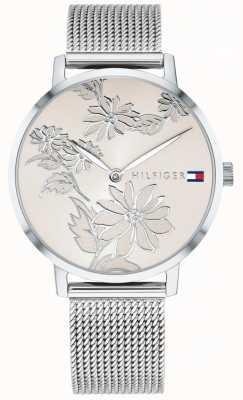 Tommy Hilfiger 女士pippa银色花卉印花表盘不锈钢网 1781920