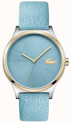 Lacoste 天蓝色表盘两色调表圈蓝色皮质表带 2001012