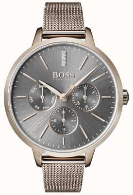 Boss Symphony灰色表盘日期和日期网眼表带 1502424