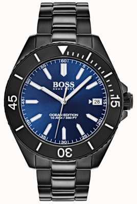 Hugo Boss 海洋版蓝色表盘日期显示黑色ip手镯 1513559