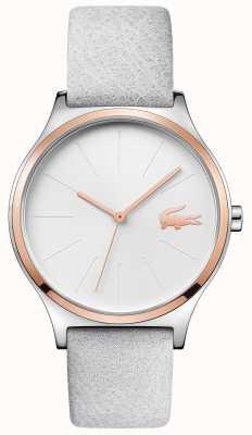 Lacoste 银色表盘玫瑰金表壳灰色皮革表带 2001013