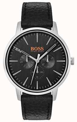 Hugo Boss Orange 黑色表盘日期和日期子表盘黑色皮革表带 1550065