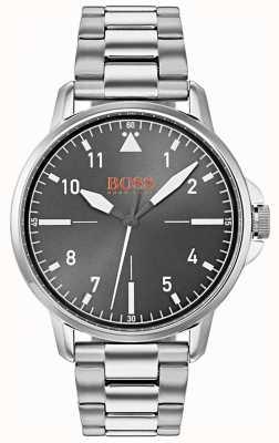 Hugo Boss Orange 黑色表盘银色不锈钢表链 1550064