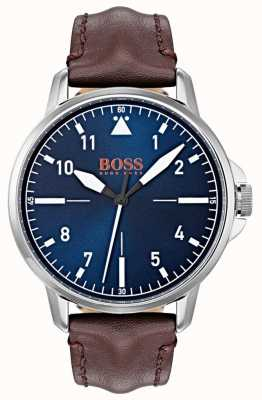 Hugo Boss Orange 蓝色表盘白色标记深棕色真皮表带 1550060