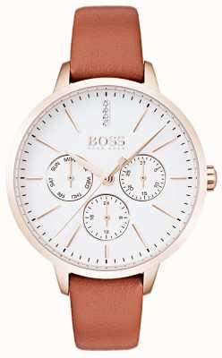 Hugo Boss 白色表盘日期和日期显示玫瑰金表壳棕褐色皮革 1502420