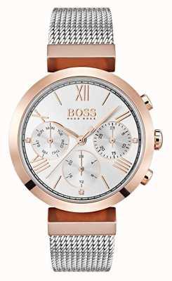 Hugo Boss 银色表盘日期和日期显示罗马数字网状手链 1502427