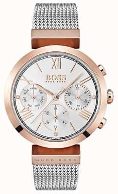 Boss 银色表盘日期和日期显示罗马数字网状手链 1502427