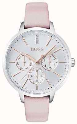 Boss 银色表盘日期和日期子表盘水晶设置粉红色皮革 1502419