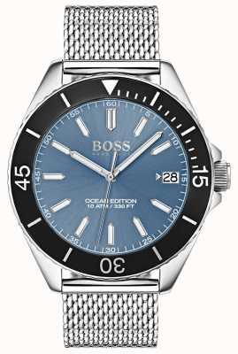 Hugo Boss 浅蓝色表盘黑色表圈海洋版网状表带 1513561
