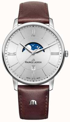 Maurice Lacroix 男士eliros月相棕色真皮表带银色表盘 EL1108-SS001-110-1