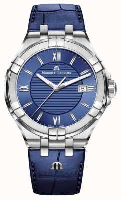 Maurice Lacroix Aikon男士蓝色表盘蓝色皮革表带 AI1008-SS001-430-1